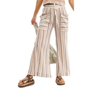 NWT Free People Jones Beach Wide Leg Striped Pants